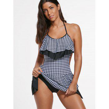 Houndstooth Flounce Skirted Swimsuit - L L