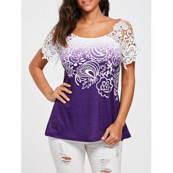 Floral Lace Trim T-shirt