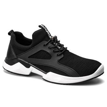 String Breathable Stretch Fabric Athletic Shoes - BLACK 43