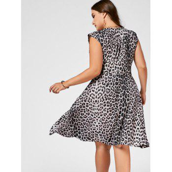 Plus Size V Neck Leopard Printed Skater Dress - BLACK LEOPARD PRINT 3XL