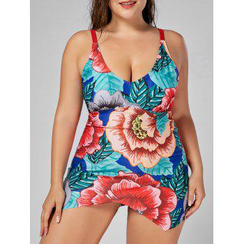 Floral Plus Size Padded Spaghetti Strap Swimdress