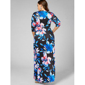 Floral V Neck Plus Size Long Dress - BLUE 5XL