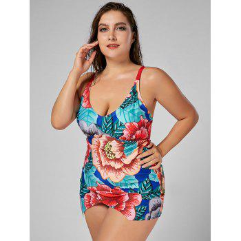 Floral Plus Size Padded Spaghetti Strap Swimdress - FLORAL 5XL