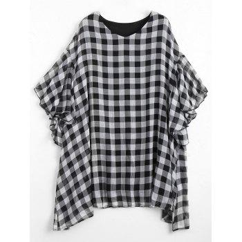 Plus Size Flounce Checked Mini Poncho Dress