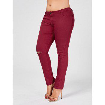 Plus Size Ripped Skinny Jeans - WINE RED 2XL