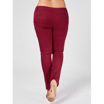 Plus Size Ripped Skinny Jeans - WINE RED 3XL