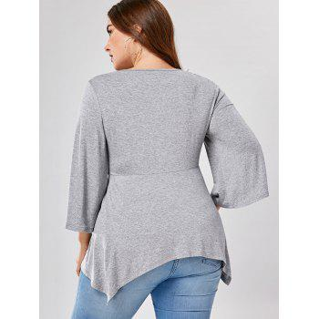 Plus Size Flare Sleeve Asymmetric Draped T-shirt - GRAY GRAY