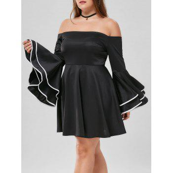 Plus Size Flare Sleeve Off The Shoulder Dress