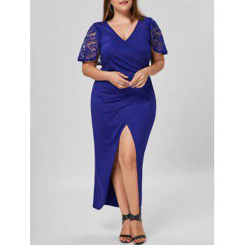 Plus Size Lace Capelet Slit Dress