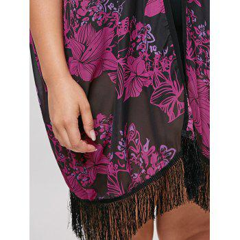 Plus Size Fringed Cover Up Kimono - BLACK / ROSE BLACK / ROSE