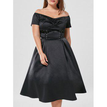 Off The Shoulder Lace Up Plus Size Dress