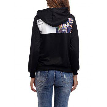 Drawstring Patch Graphic Hoodie - Noir Brillant XL