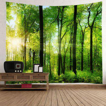 Sun Forest Print Tapestry Wall Hanging Art - GREEN GREEN