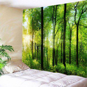 Sun Forest Print Tapestry Wall Hanging Art - GREEN W91 INCH * L71 INCH