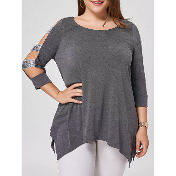 Plus Size Sequined Ladder Cut Top