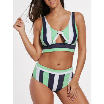 Stripe Cropped Bikini Set