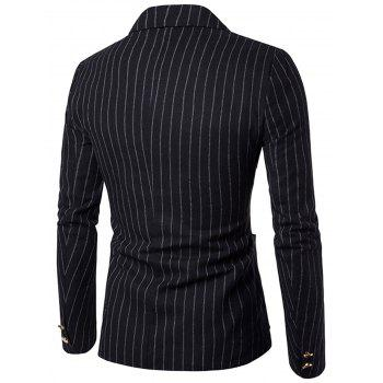 Vertical Stripe Peaked Lapel Casual Blazer - BLACK 2XL