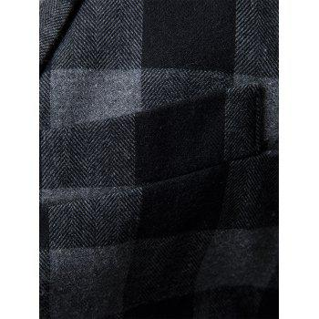 One-button Notch Lapel Plaid Casual Blazer - Gris XL