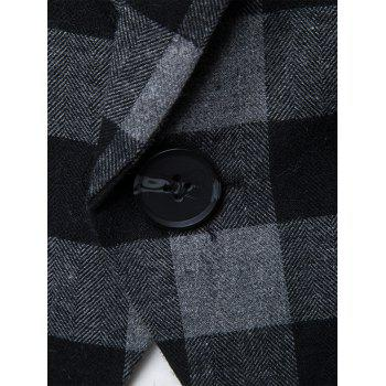One-button Notch Lapel Plaid Casual Blazer - Gris M