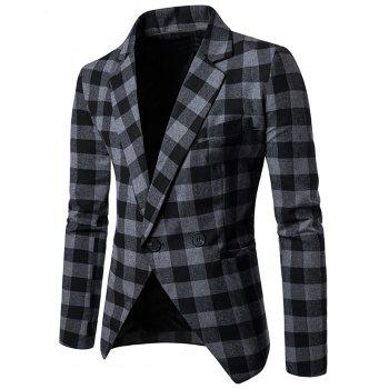 One-button Notch Lapel Plaid Casual Blazer