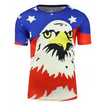 Short Sleeve Cartoon Eagle and American Flag Print T-shirt - COLORMIX 3XL