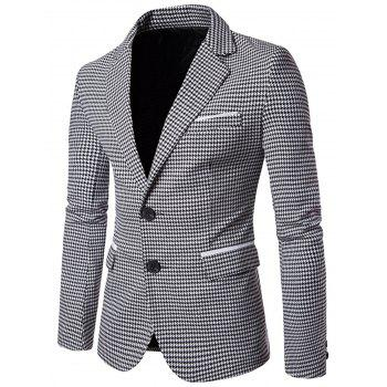 Contrast Two Button Houndstooth Blazer