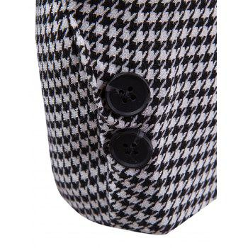 Contrast Two Button Houndstooth Blazer - BLACK WHITE XL