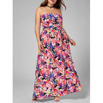 Floral Floor Length Plus Size Bandeau Dress