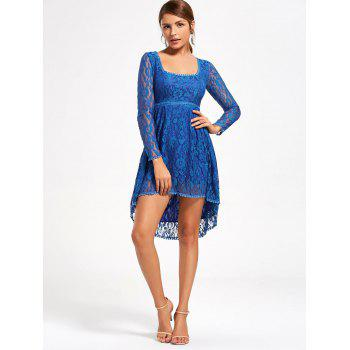 Robe asymétrique Empire Waist Long Sleeve Lace - Bleu XL
