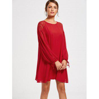 Raglan Long Puff Sleeve Casual Mini Swing Dress - RED RED