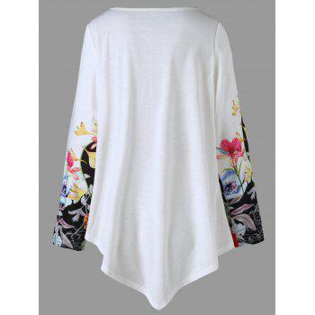 Plus Size 3D Floral Print Asymmetric T-shirt - COLORMIX XL