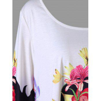 Plus Size 3D Floral Print Asymmetric T-shirt - COLORMIX 2XL