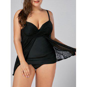 Lace Insert Plus Size Push Up Underwire Tankini