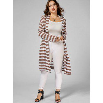 Stripe Open Front Plus Size Longline Coat - Rayure 2XL