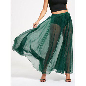 See Through High Waist Chiffon Maxi Skirt - GREEN GREEN