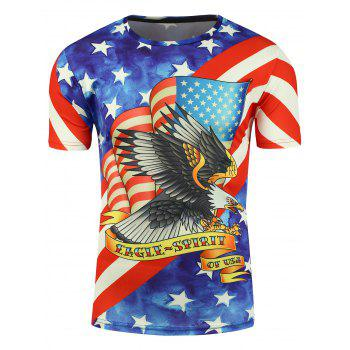 3D Eagle and American Flag Print Short Sleeve T-shirt - COLORMIX 2XL