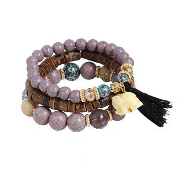 Jade Elephant Tassel Beaded Wooden Bracelet Set