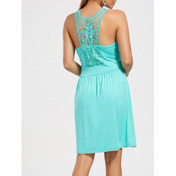 Ruched Lace Racerback Sleeveless Casual Dress