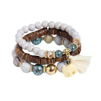 Jade Elephant Tassel Beaded Wooden Bracelet Set - WHITE WHITE