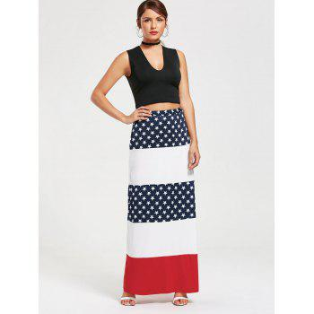 Stars and Stripes Maxi Straight Skirt - L L