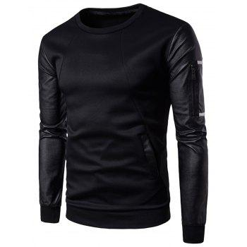 Zip Shoulder Faux Leather Panel Sweatshirt