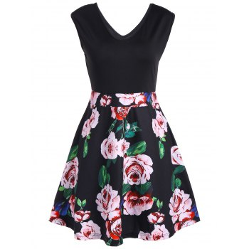V Neck Floral Print Sleeveless Flare Dress