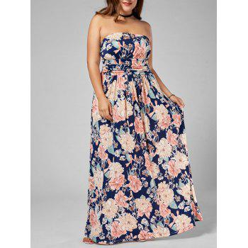 Floral Plus Size Strapless Long Dress