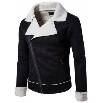 Asymetric Zipper Faux Shearling Jacket