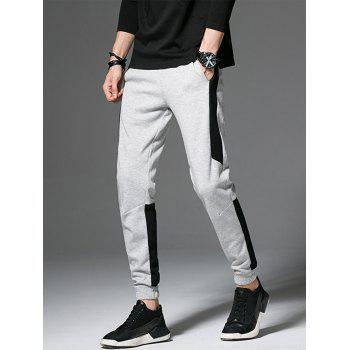 Drawstring Beam Feet Color Block Panel Jogger Pants - GRAY 4XL