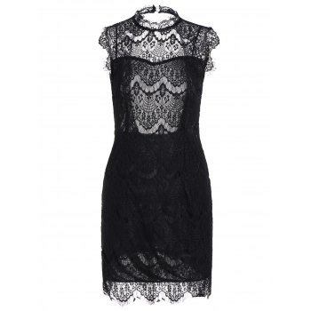 Sleeveless Backless Half Sheer Nightclub Lace Dress - BLACK M