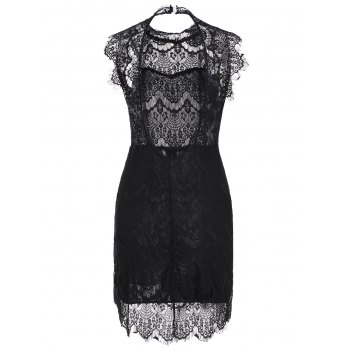 Sleeveless Backless Half Sheer Nightclub Lace Dress - BLACK L