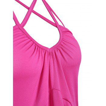 High Waist Strappy Backless Halter Tank Top - L L