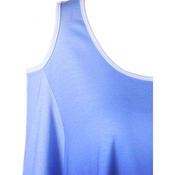 Plus Size Cold Shoulder Ombre Asymmetric T-shirt - COLORMIX 3XL