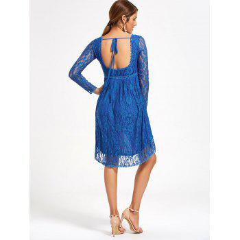 Asymmetrical Empire Waist Long Sleeve Lace Dress - M M